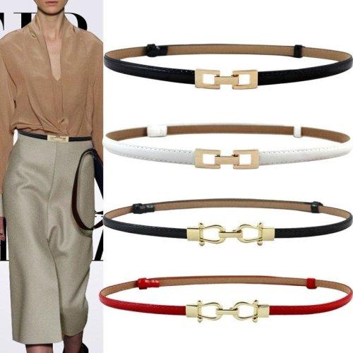Women black Leather Belt Gold cutout square Alloy Buckle Thin Girdle Waistband Adjustable lady Dress Waist Strap belts For Women