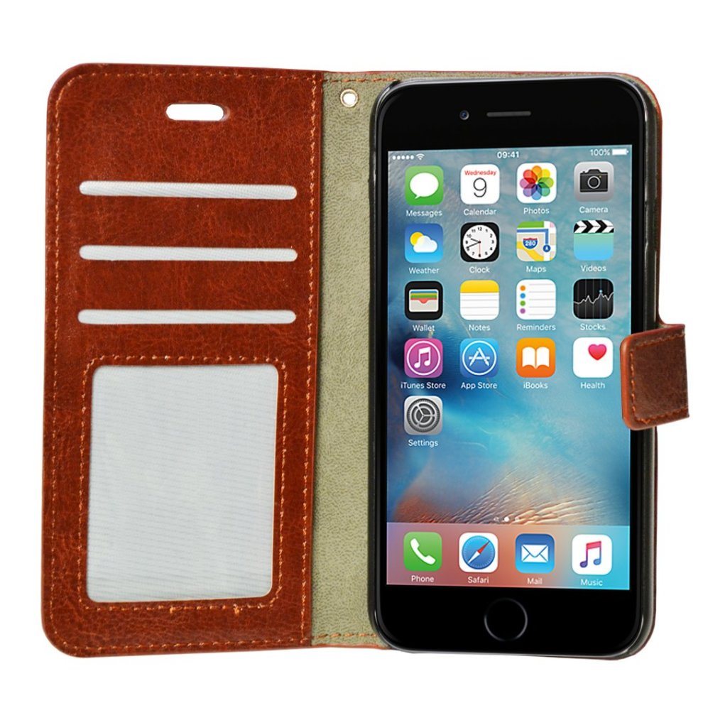 the best attitude ef609 7fac7 iPhone 6/6S Covers, Apple iPhone 6/6S Case, Flip Wallet iPhone Case with  Card Holder - PU Leather iPhone 6/6S Kit with Screen Protector, Polishing...