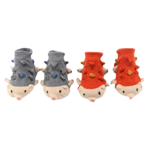 2 Pairs Non-slip Newborn Baby Toddler Socks Warm Stockings Baby Gift 9-11.5 CM For 0-1 Year Baby-Hedgehog