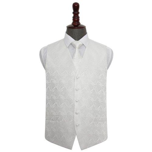 Ivory Paisley Wedding Waistcoat & Tie Set 36'