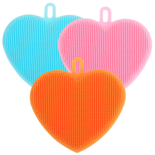 Pack of 3 Multipurpose Silicone Heart Shaped Scrubbing pads Bathroom Skin Care Kitchen Cleaning TRIXES