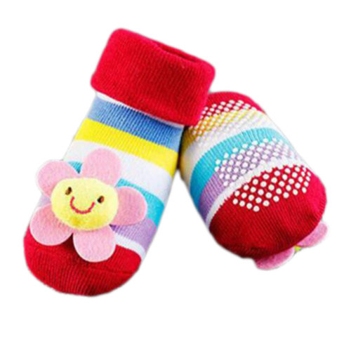 3 Pairs Non-slip Newborn Baby Toddler Socks Comfortable Warm Stockings Baby Birthday Gift For 6-12 month-A11