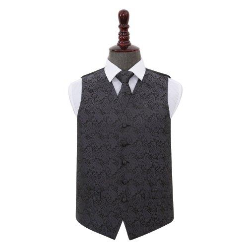 Charcoal Grey Paisley Wedding Waistcoat & Tie Set 36'