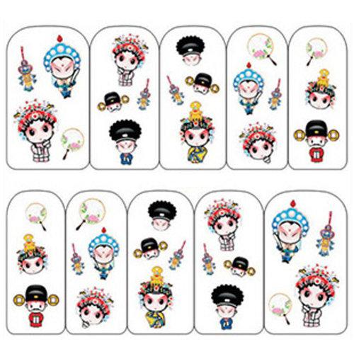 3 Sheet Nail Art Sticker Nail Decal Full Nail Wrap Art Chinese Peking Opera (F )