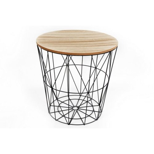 Round Geometric Wire Stool With Wooden Top | Wire Side Table