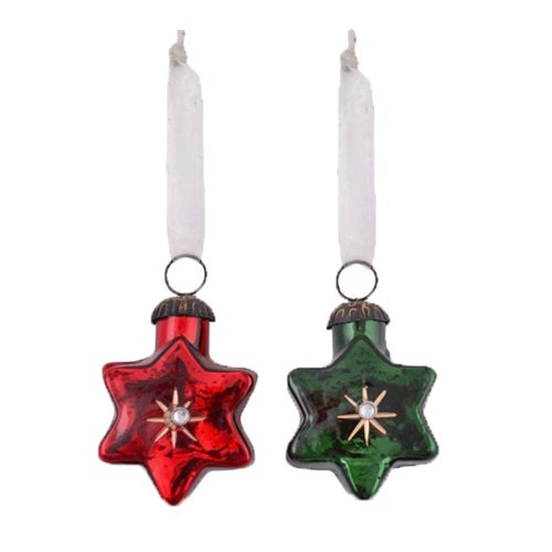 Set of Two Star Shaped Glass Christmas Baubles in Red & Green