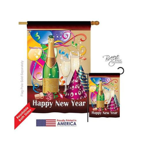Breeze Decor 16008 New Year Happy New Year 2-Sided Vertical Impression House Flag - 28 x 40 in.