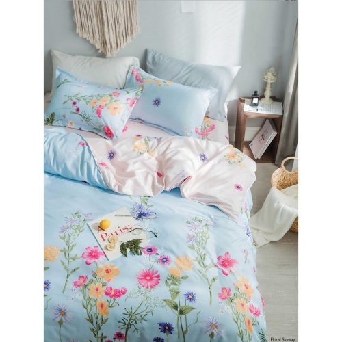 Reversible FLORAL SKYWAY Duvet Quilt Cover and Pillow Case Bedding