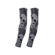 UV Sun Protection Arm Sleeves Breathable Long Sleeves To Cover Arms, Skull (B)