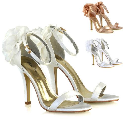 Womens Bridal Shoes Stiletto Heel Ladies Satin Flower Bridesmaid Strappy Sandals