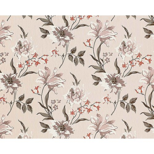EDEM 900-12 non-woven wallpaper flowers fabric look beige grey white | 10.65 sqm