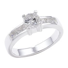 Sterling Silver Shoulder Set Cubic Zirconia Ring - Size J