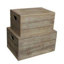Set of 2 Oak Effect Heart Cut Handle Wooden Lidded Storage Box