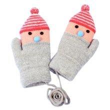 Fashion Gloves Double Thicken Children Orange Warm Mittens(6-10 Years)