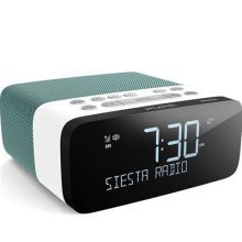 Pure Siesta Rise S Alarm Clock Radio with Bluetooth - Digital DAB+ / FM Radio - USB Phone Charging - CrystalVue Auto-dimming Display - Mint