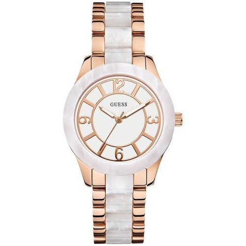 GUESS White and Rose Gold-Tone Ladies Watch U0074L2