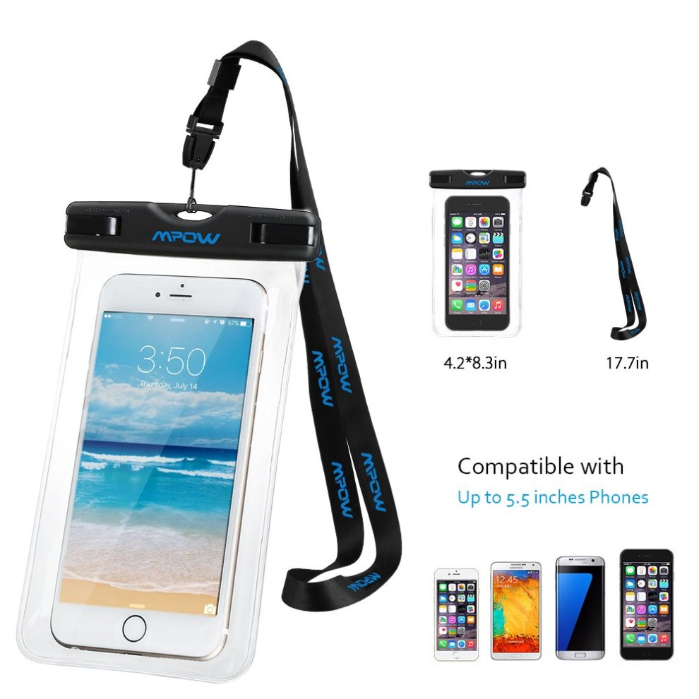 new products 1aee8 23374 2 Packs; Mpow IPX8 Waterproof Case, Universal Durable Underwater Dry Bag