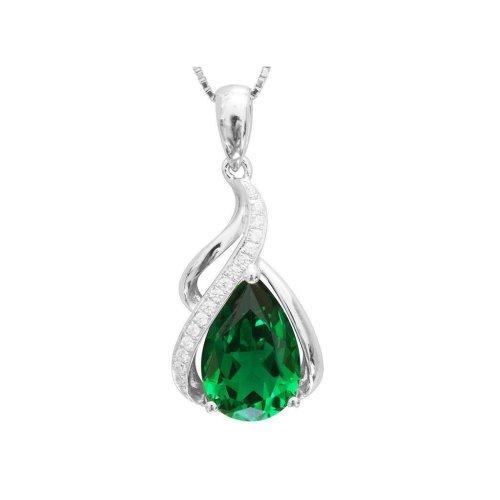 Prong Set 8.40 Carats Emerald And Diamonds Pendant Necklace 14K Gold