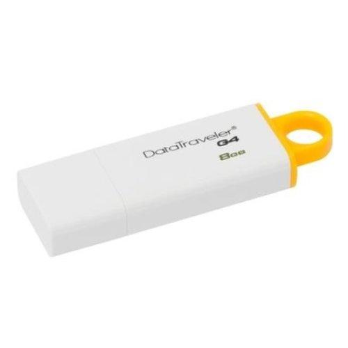 Kingston 8GB USB 3.0 Memory Pen, DataTraveler G4, White/Yellow, Lid