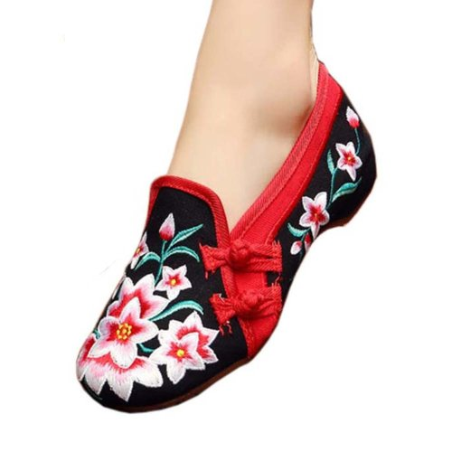 Vintage Design Chinese Shoes Embroidered Flats Cheongsam Shoes, #02