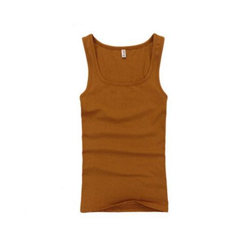 Summer Close-Fiting Bottoming Vest Sport Vest For Men Dark Camel