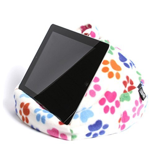 iBeani iPad & Tablet Stand/Bean Bag Cushion Holder for All Devices/Any Angle on Any Surface - Paw Print