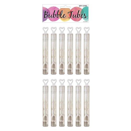 12 Wedding Heart Tube Bubbles (Bag)