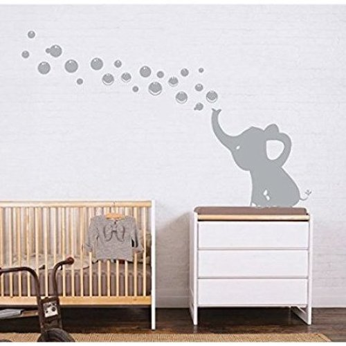 MAFENT One Lovely Elephant Blowing Bubbles Wall Decal Vinyl Wall Sticker for Baby Nursery and Kids Room Wall Decorations (Grey,Left)