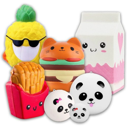 Squishies Slow Rising Jumbo Scented Cute Squishy Toys 7 Pack - Hamburger Pineapple Milk Fries + 3 Pandas, APzek Stress Reliver Squeeze Toys...