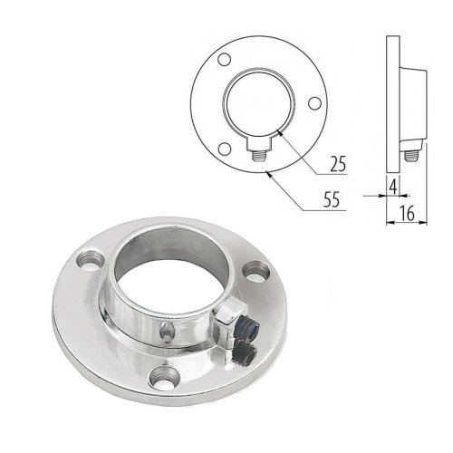 Chrome 25mm Round Tube Pipe Clamp Holder for Hanging Garment Rail Pipe