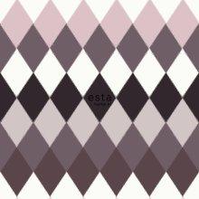 chalk printed eco texture non woven wallpaper horizontal stripe multi diamond rhombus with linen textture Taupe purple purple shades
