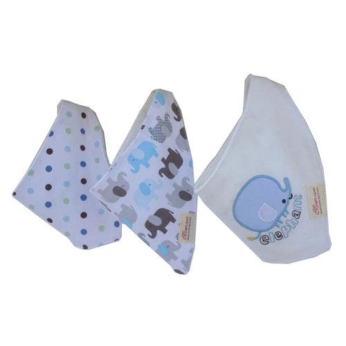Lovely Feeding Bandana Bibs for Babies and Toddlers Set of 3(blue elephant)