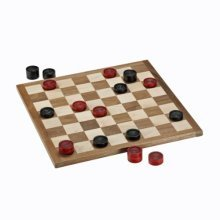 WE Games Classic Checkers Set - Red & Black Pieces with Solid Wood Board 11.5 in. (Made in USA)