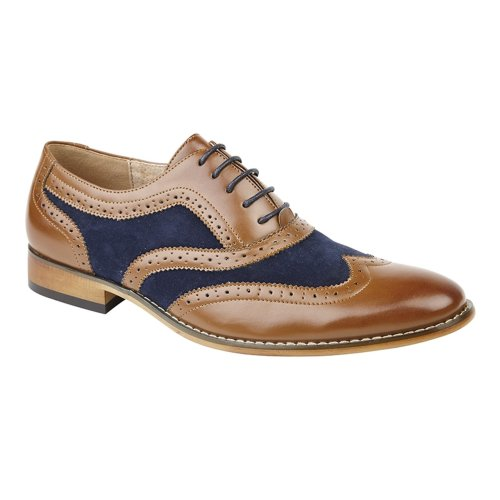 Goor Mens 5 Eye Brogue Oxford Shoe Blue