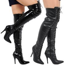Destiny Womens Thigh High Stiletto Heel Lace Up Boots