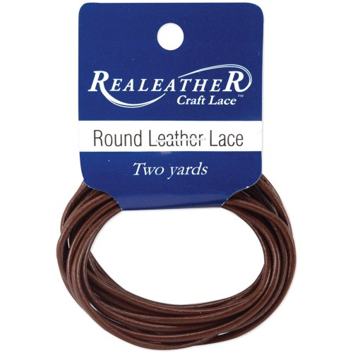 Realeather Crafts Round Leather Lace 2mmX2yd Packaged-Brown