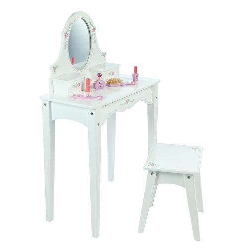 Tidlo Wooden Dressing Table with Stool, Mirror & Storage