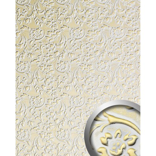 WallFace 13415 FLORAL Wall panel leather baroque flower white gold | 2.60 sqm