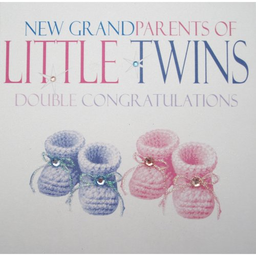 """WHITE COTTON CARDS """"Little Booties & Tiny Toes Little Twins Double Congratulations, Pink & Blue Booties Handmade Twins Card"""