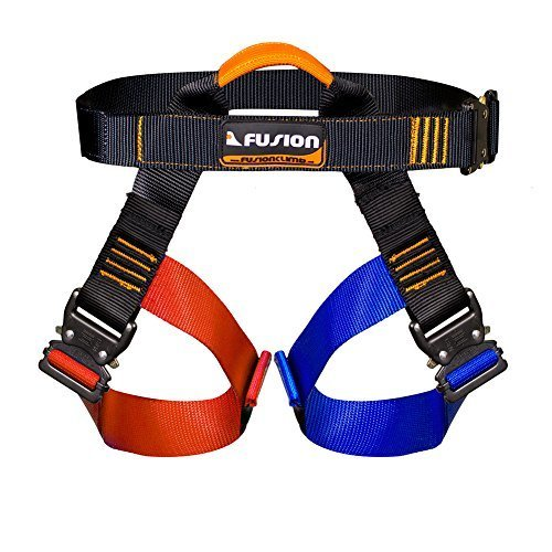 Fusion Climb Concerto Color Coded Half Body Harness Black M XL Quick Release Buckles Climbing Gym