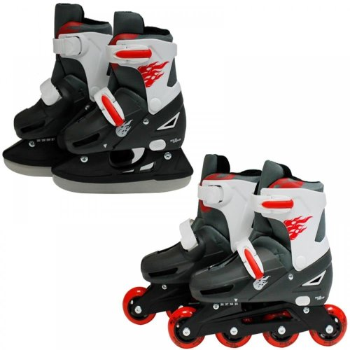 SK8 Zone Boys Red 2in1 Adjustable Roller Blades Inline Skates Ice Skating Set[Small 9-12 (27-30 EU)]