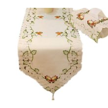 Chic Butterfly Table Runner Embroidery Cut-Out Wedding Table Runner 68''