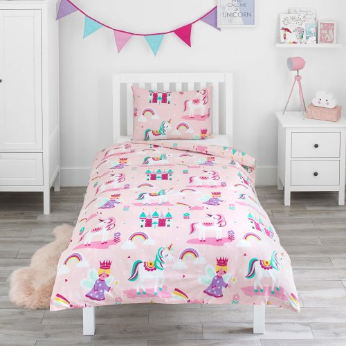 Bloomsbury Mill - Magic Unicorn, Fairy Princess & Enchanted Castle - Kids Bedding Set - Pink - Junior/Toddler / Cot Bed Duvet Cover and Pillowcase