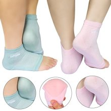 AYAOQIANG Moisturizing Open Toe Silicone Gel Heel Socks,Spa Socks for Dry Hard Cracked Skin -2 Pair(Pink and Green)