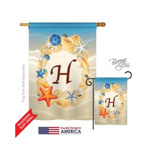 Breeze Decor 30164 Summer H Monogram 2-Sided Vertical Impression House Flag - 28 x 40 in.