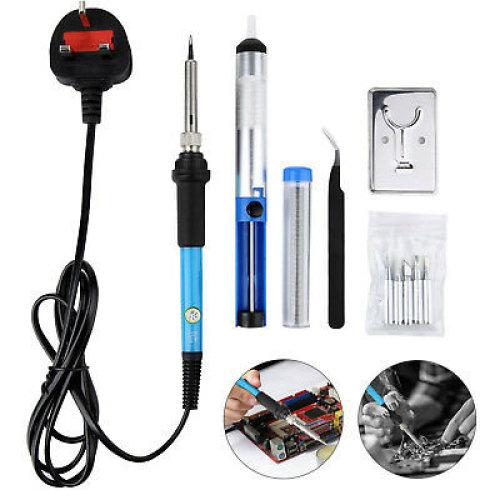 220V Soldering Solder Iron Set Kit 60W Adjustable Temp Electronic Repair Tool UK