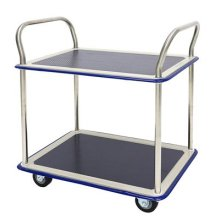 T Equip Goalkeeper's 120 Chrome 2 Tier Shelf Trolley L x W x H: 744 x 484 x 860 mm Max. Load 220 kg, Etagenmaß: 75 x 48 cm, Edelstahl/Blau, 1