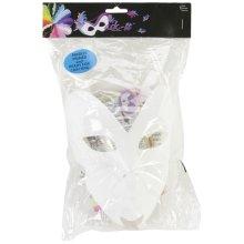 "Designer Mask-It Face Form On Plastic Dowel 8""-White"