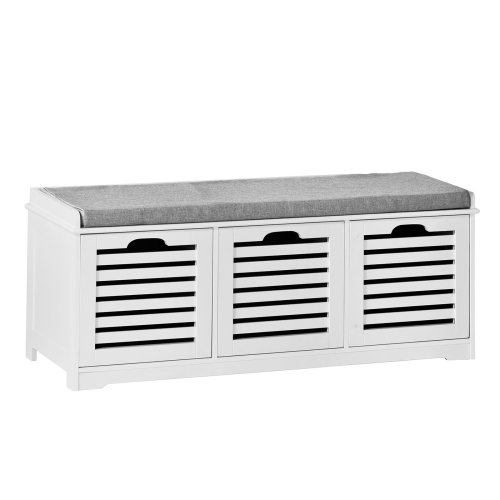 SoBuy® FSR23-W, 3 Drawers Storage Bench Shoe Cabinet Shoe Rack Bench