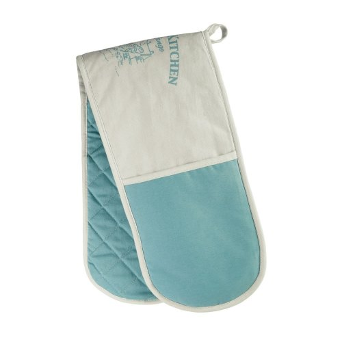 Country Kitchen Double Oven Glove - White/Teal